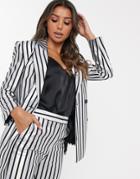 Asos Design Metallic Stripe Suit Blazer-multi