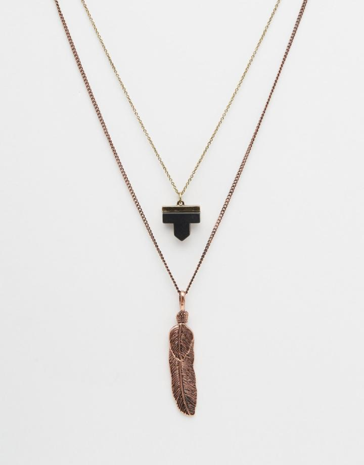 Asos Necklace Pack With Feather Pendant In Copper - Burnished Copper