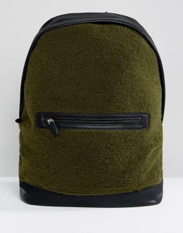 Asos Backpack In Khaki Borg With Faux Leather Trims - Green
