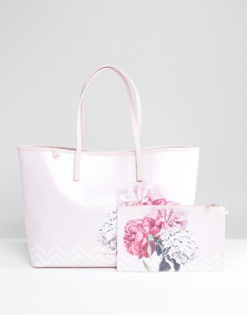 Ted Baker Large Canvas Shopper In Palace Gardens - Multi