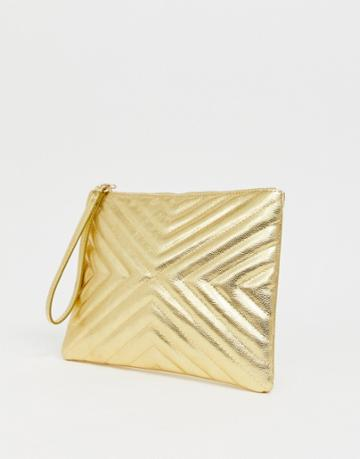 Asos Design Quilted Zip Top Clutch Bag - Gold