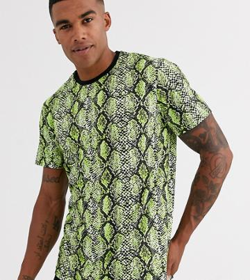 Only & Sons Snake Print T-shirt In Neon
