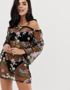 South Beach Floral Embrodiered Beach Cover Up - Black