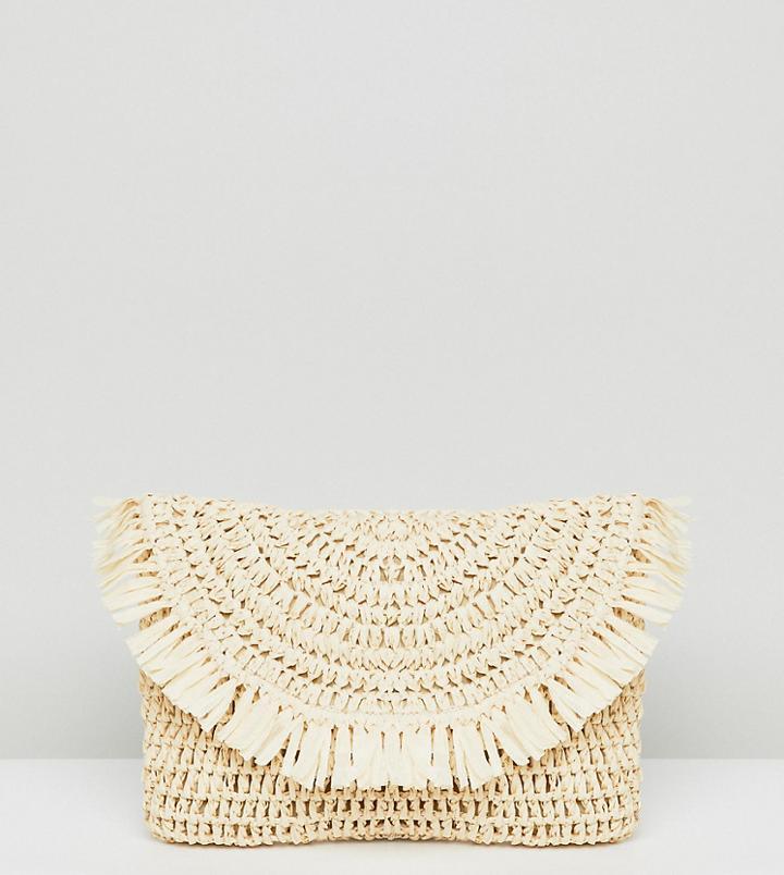 South Beach Frayed Straw Clutch Bag - Beige