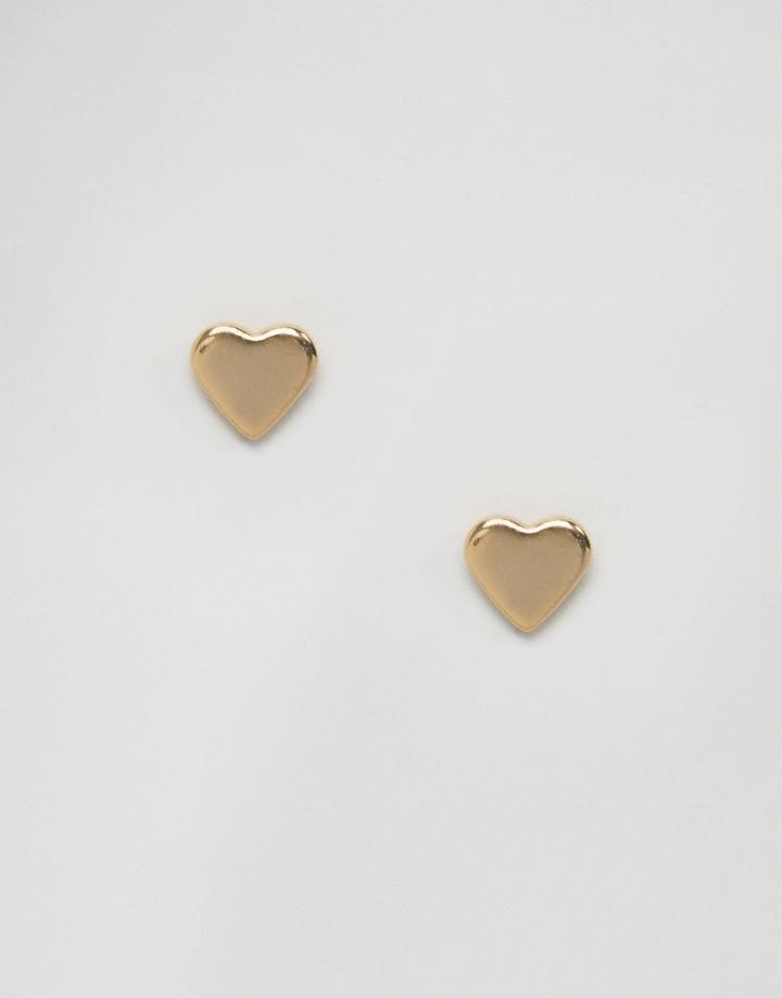 Orelia Heart Stud Earrings - Gold