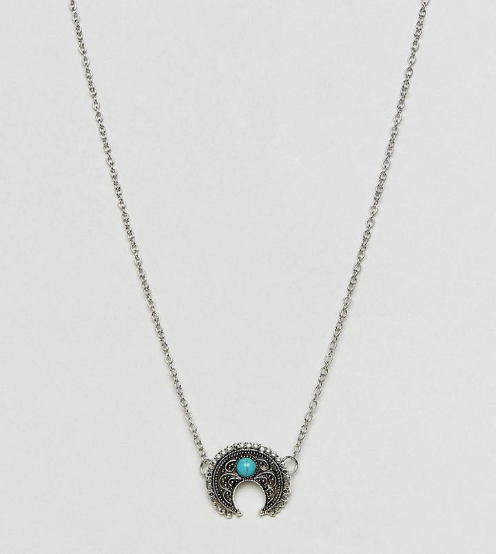 Reclaimed Vintage Inspired Boho Turquoise Stone Pendant Necklace - Silver