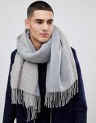 Asos Design Blanket Scarf In Gray & Camel Houndstooth - Gray