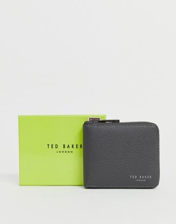 Ted Baker Worner Leather Zip Around Wallet In Gray