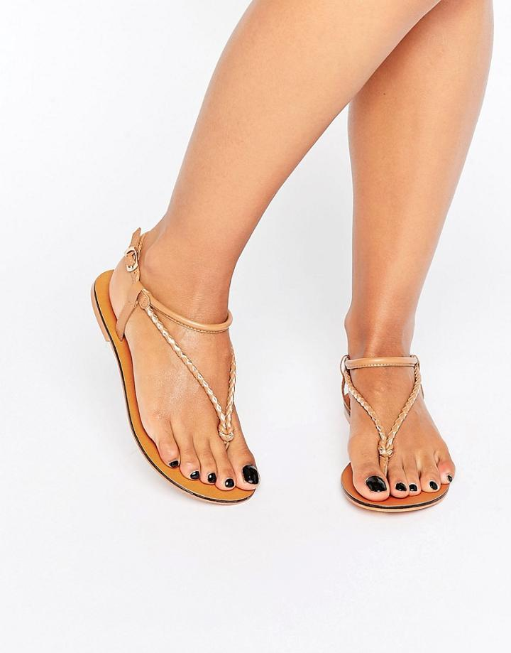 Asos Fixation Leather Plaited Flat Sandals - Tan
