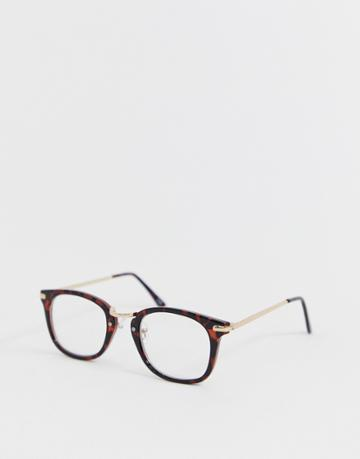 Asos Design Tort Glasses In Brown With Clear Lens And Gold Metal Detail - Brown