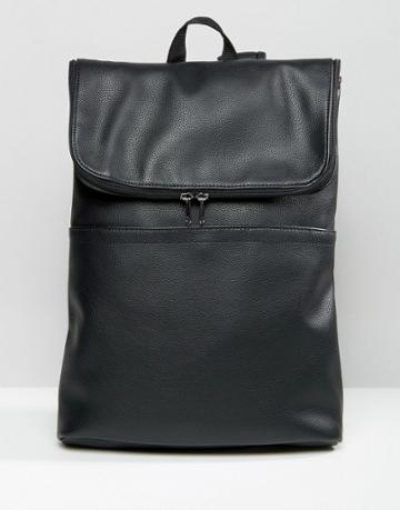 Asos Backpack In Faux Leather With Fold Over Top - Black