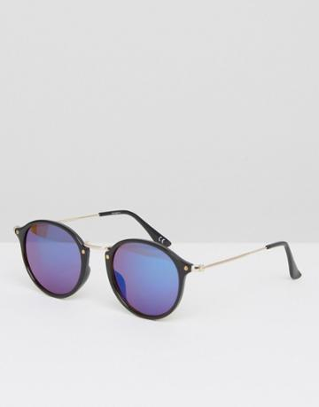 Asos Round Sunglasses With Metal Arms And Blue Revo Lens - Black