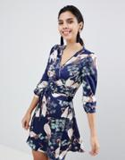 Liquorish Stalk Bird Print Wrap Dress - Navy
