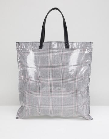 Asos Design Check Bonded Plastic Shopper Bag - Gray