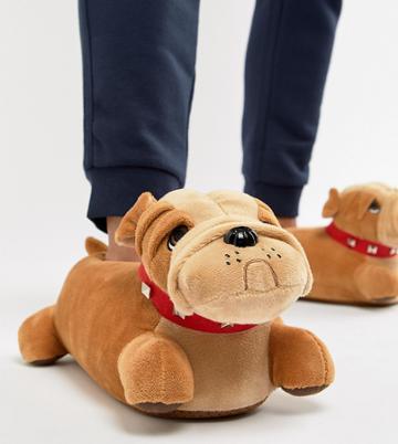 Asos Design Bull Dog Slippers In Tan - Tan