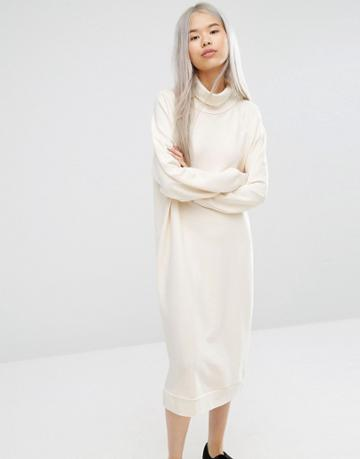 Monki Oversized Sweat Dress - Cream