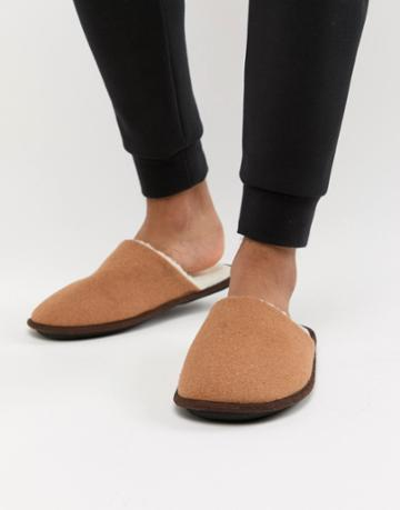 New Look Mule Slippers With Borg Lining In Tan - Tan