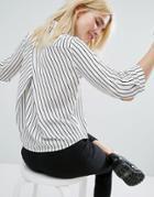 Monki Stripe Cross Back Shirt - Multi