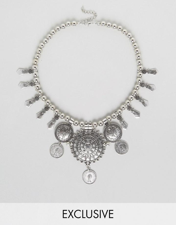 Reclaimed Vintage Inspired Boho Coin Necklace - Silver
