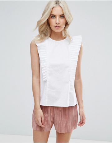 Fashion Union Petite Ruffle Detail Blouse - White