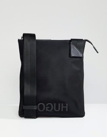 Hugo Logo Nylon Zip Bag - Black