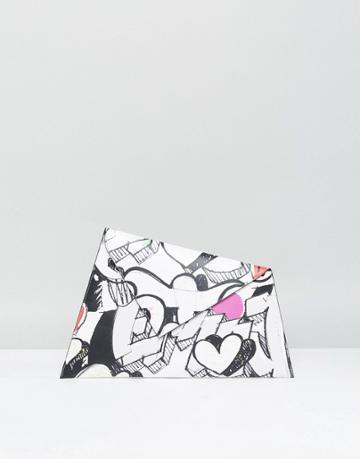 Asos Emoji Graffiti Clutch Bag - White