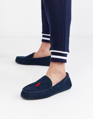 Ralph Lauren Desi Moccasin Slipper In Navy