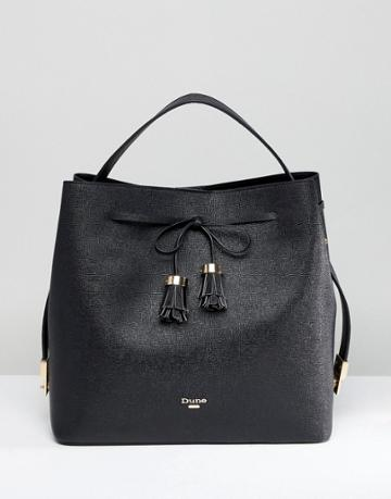 Dune Slouchy Tote Bag With Tassel Fastening - Black