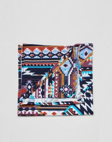 Moss London Pocket Square With Geo-tribal Design - Blue