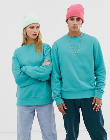 Collusion Unisex Sweatshirt In Teal - Blue