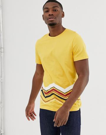 Jack & Jones Originals Printed Geo-tribal Print T-shirt In Yellow - Yellow