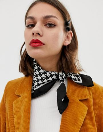 Pieces Houndstooth Print Scarf - Multi