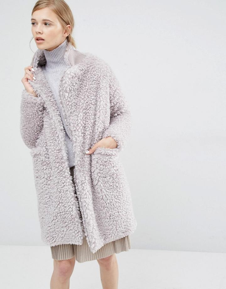 Paisie Fluffly Teddybear Coat - Gray