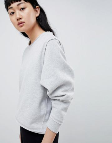 Selected Femme Sweatshirt With Raw Seams - Gray