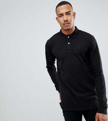 Jacamo Tall Knitted Long Sleeve Polo Shirt - Black