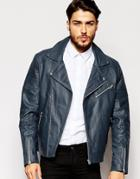Asos Leather Biker Jacket In Blue - Navy