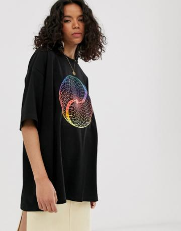 Weekday Oversized T-shirt With Rainbow Print In Black - Black