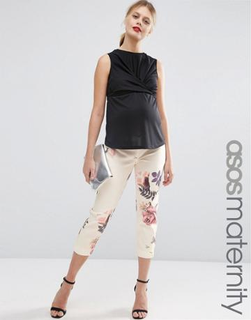 Asos Maternity Textured Floral Tapered Pant - Multi