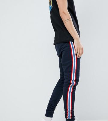 Asos Design Tall Skinny Joggers With Side Stripe Taping In Navy - Navy