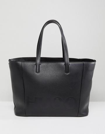 Hugo Logo Leather Shopper Bag - Black