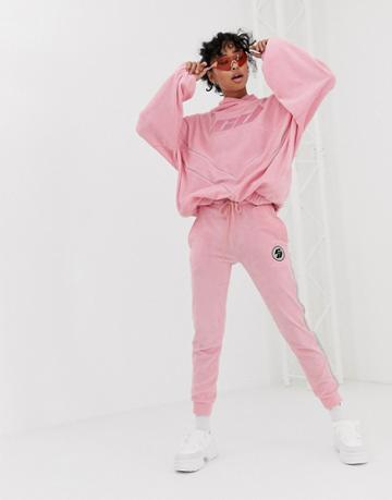 Criminal Damage Sweatpants In Velour With Reflective Tape Two-piece - Pink