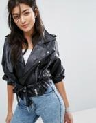 Bershka 80s Sleeve Cropped Leather Look Jacket - Black