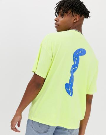 Asos Design Oversized T-shirt In Washed Neon Green With Puff Print - Green
