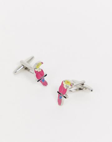 Moss London Cufflinks With Toucans In Silver