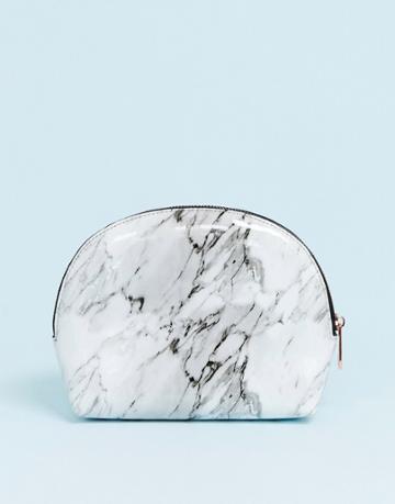 Asos Design Half Moon Makeup Bag In Marble