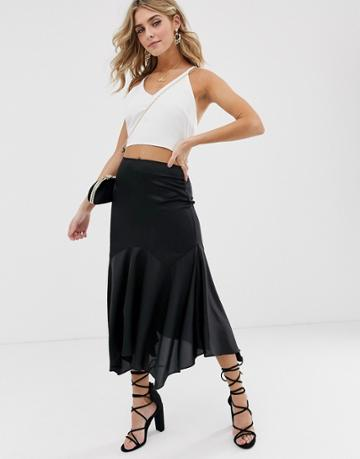Asos Design Satin Midi Skirt With Drop Waist And Floaty Hem - Black
