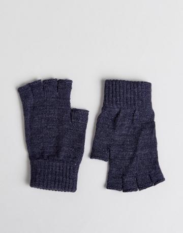 Asos Fingerless Gloves In Denim - Navy