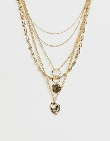 Asos Design Multirow Necklace With Worn Coin And Vintage Style Heart Pendants In Gold Tone - Gold