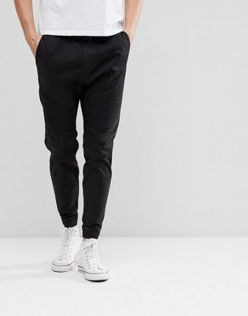 Hollister Cuffed Twill Stretch Biker Jogger In Meteorite Black - Black