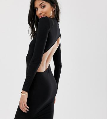 Asos Design Tall Long Sleeve Extreme Open Back Mini Bodycon Dress - Black
